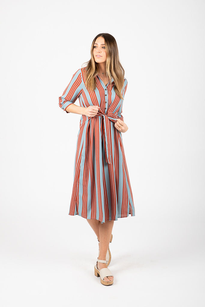 The Tiffany Button Down Striped Dress in Rust