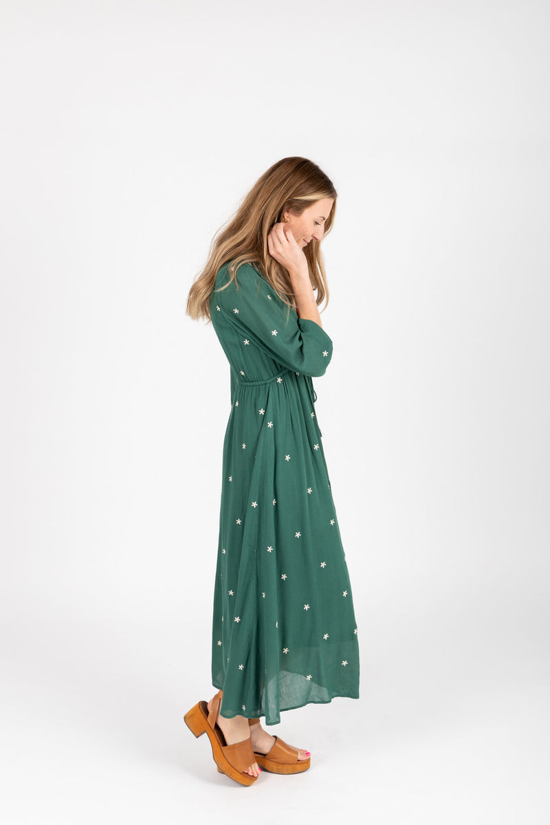 Piper & Scoot: The Alida Dress in Hunter Green, studio shoot; side view