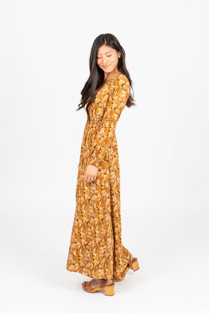 Piper & Scoot: The Moon Floral Maxi Dress in Mustard