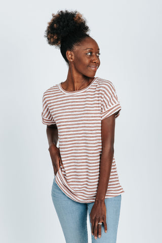 The Haslam Striped Casual Dress in Black Stripe