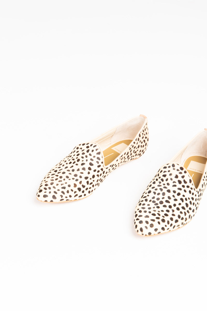 Dolce Vita: Gail Flats in Leopard, studio shoot; front view