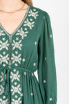 Piper & Scoot: The Alida Dress in Hunter Green, studio shoot; front view