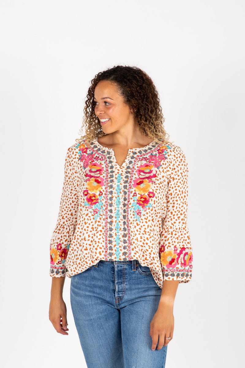The Parrish Embroidered Floral Blouse in Cream, studio shoot; front view