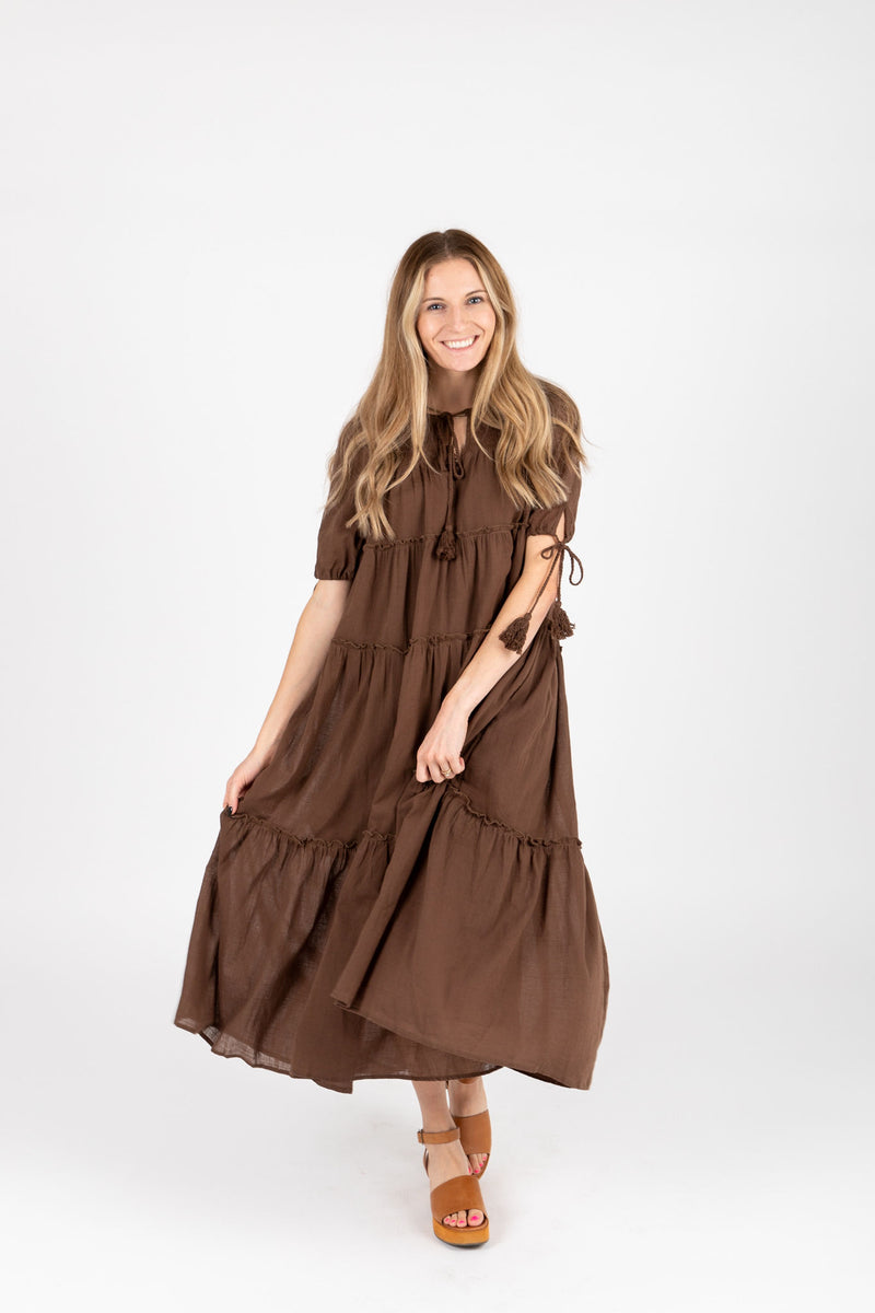 The Bruns Tiered Maxi Dress in Cocoa, studio shoot; front view