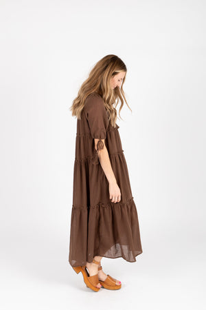 The Bruns Tiered Maxi Dress in Cocoa, studio shoot; side view