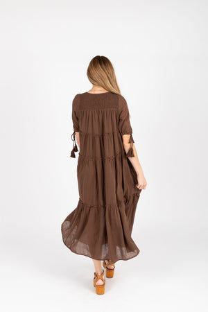 The Bruns Tiered Maxi Dress in Cocoa, studio shoot; back view