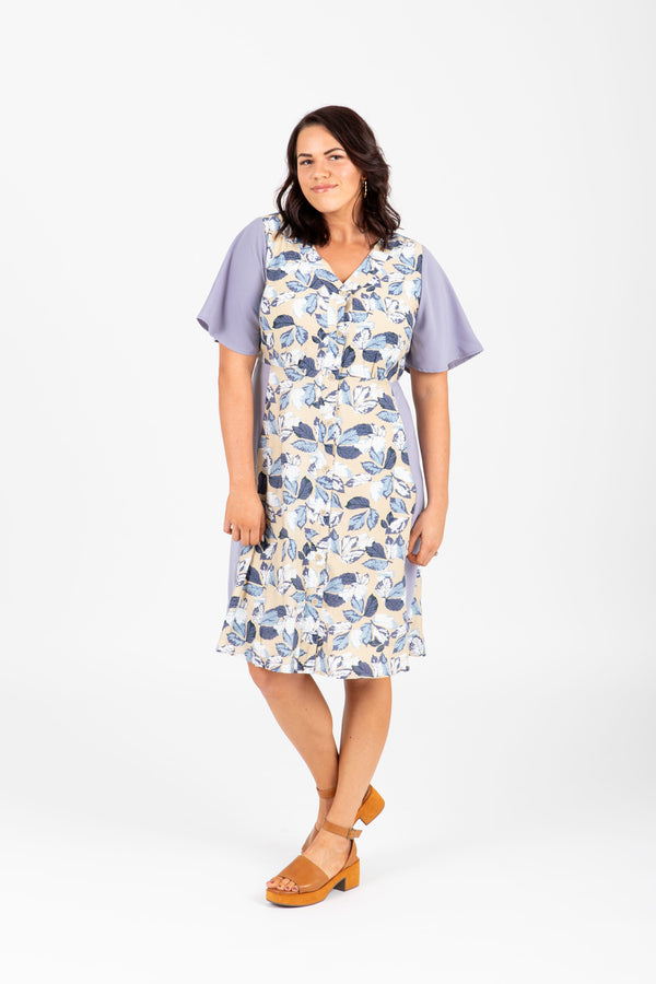 9f44b3d0fa3 Piper   Scoot  The Hyatt Mixed Floral Dress in Dusty Grey