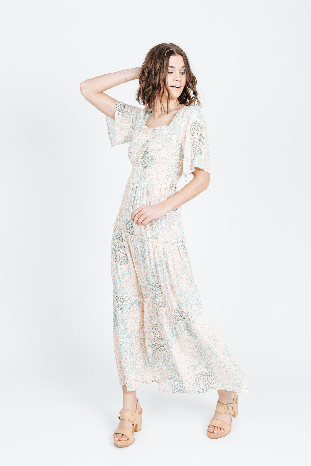 The Dreamy Patterned Maxi Dress in Cream, studio shoot; front view
