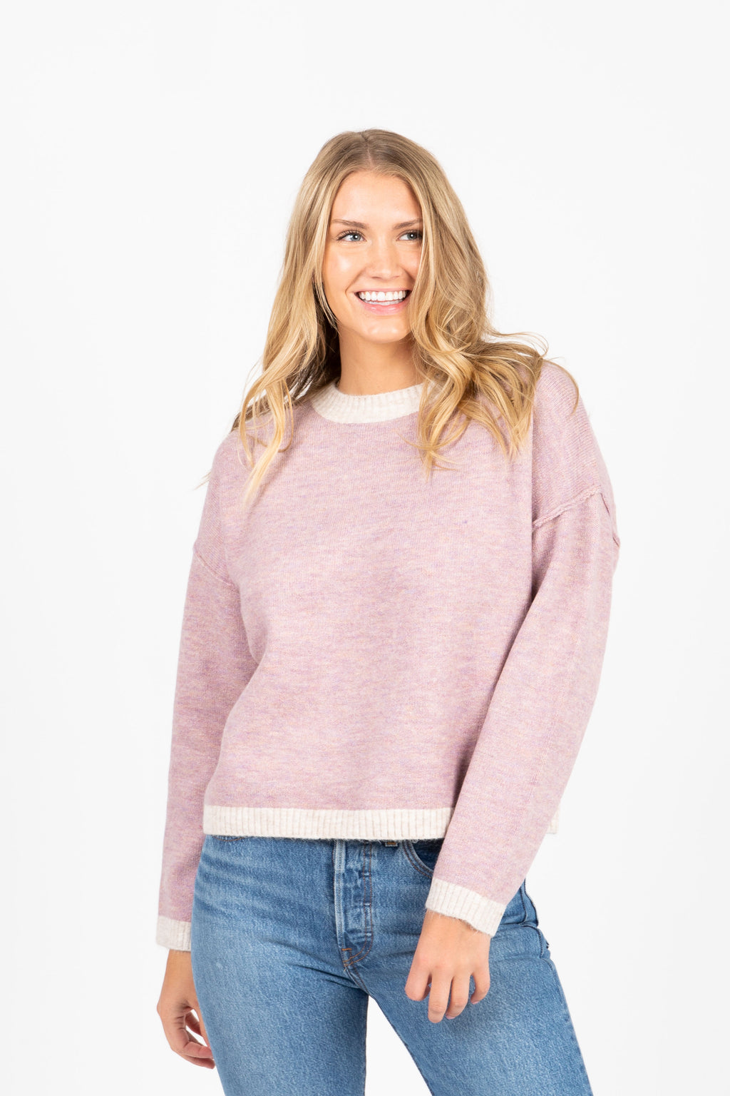 The Lampito Contrast Sweater in Mauve