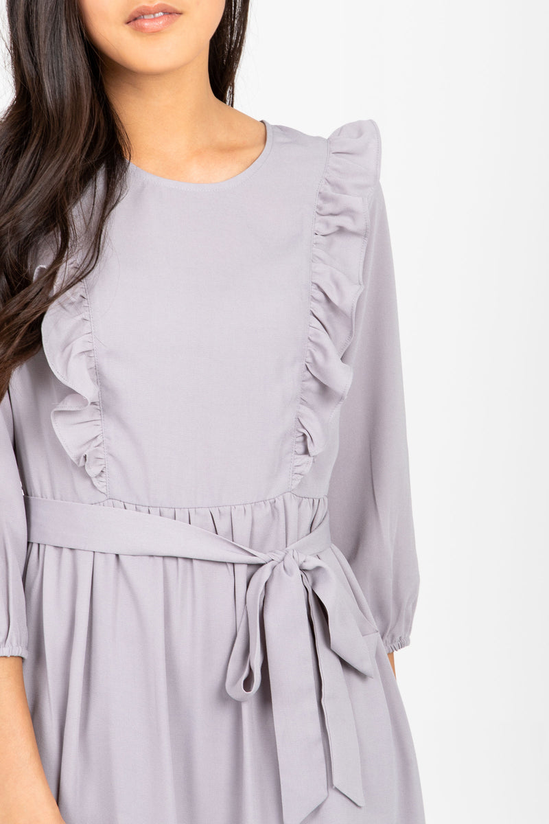 The Gabby Ruffle Maxi Dress in Grey