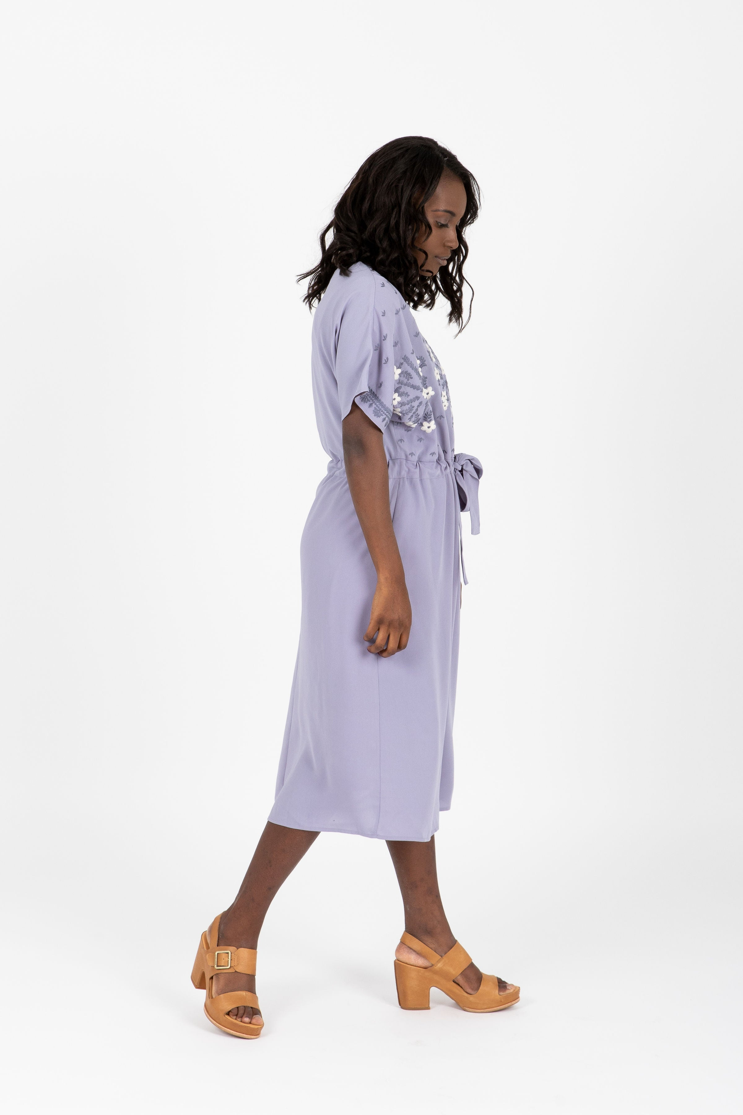 The Palina Embroidered Tie Dress in Lavender