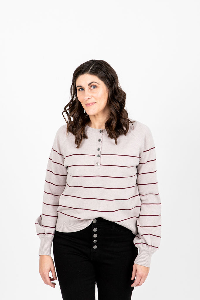 The Percy Striped Button Knit in Warm Grey