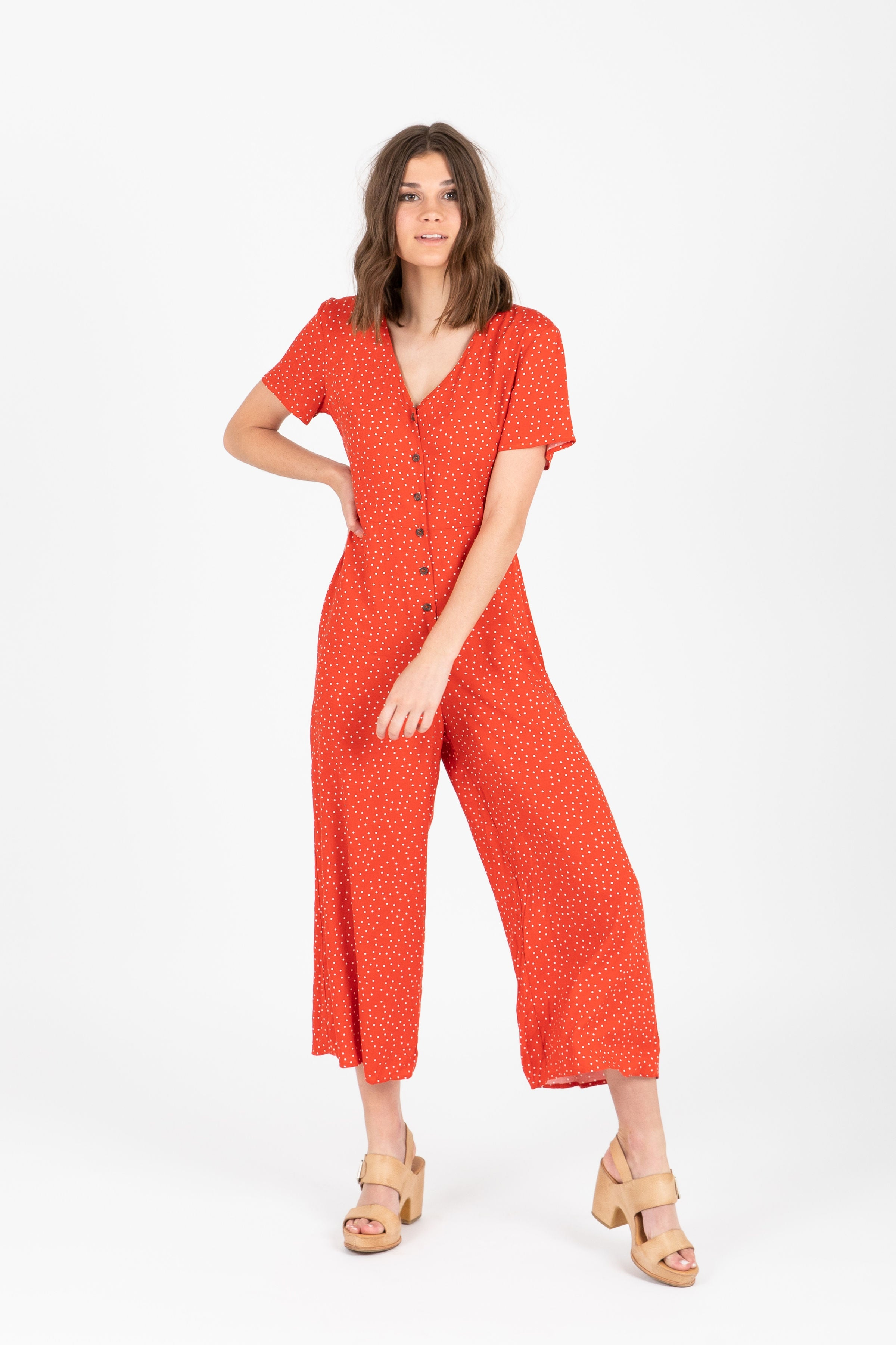 The Pony Dot Button Jumpsuit in Poppy