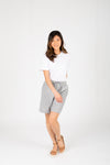 The Briella Linen Casual Shorts in Chambray, studio shoot; front view