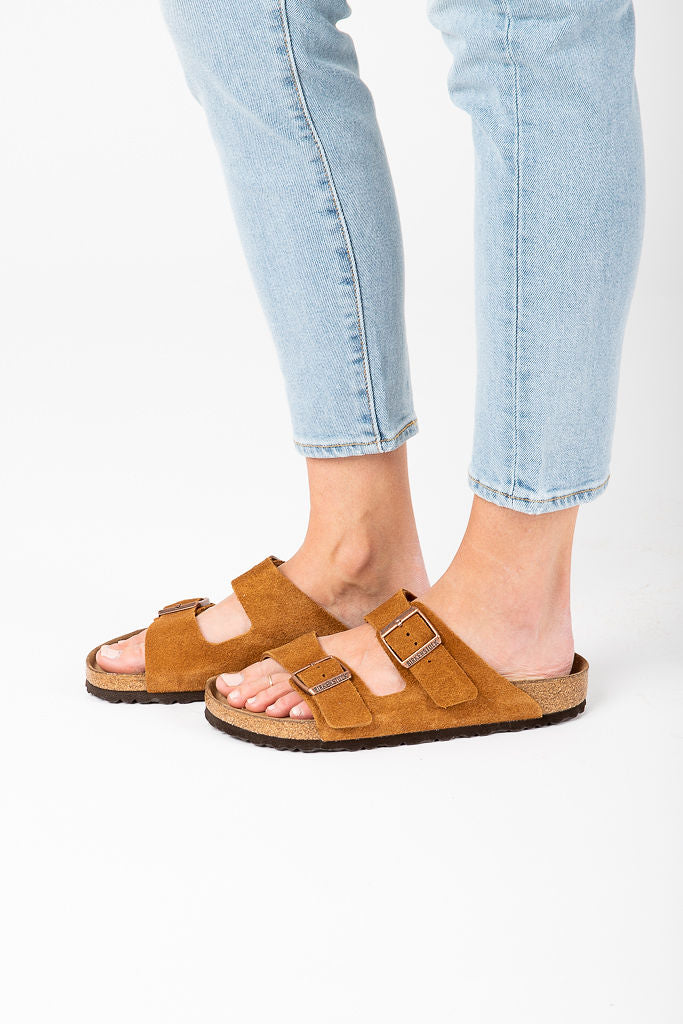 Birkenstock: Arizona Soft Footbed in Mink Suede Leather (Narrow Fit)