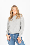 The Claudia Mock Neck Sweater in Heather Grey