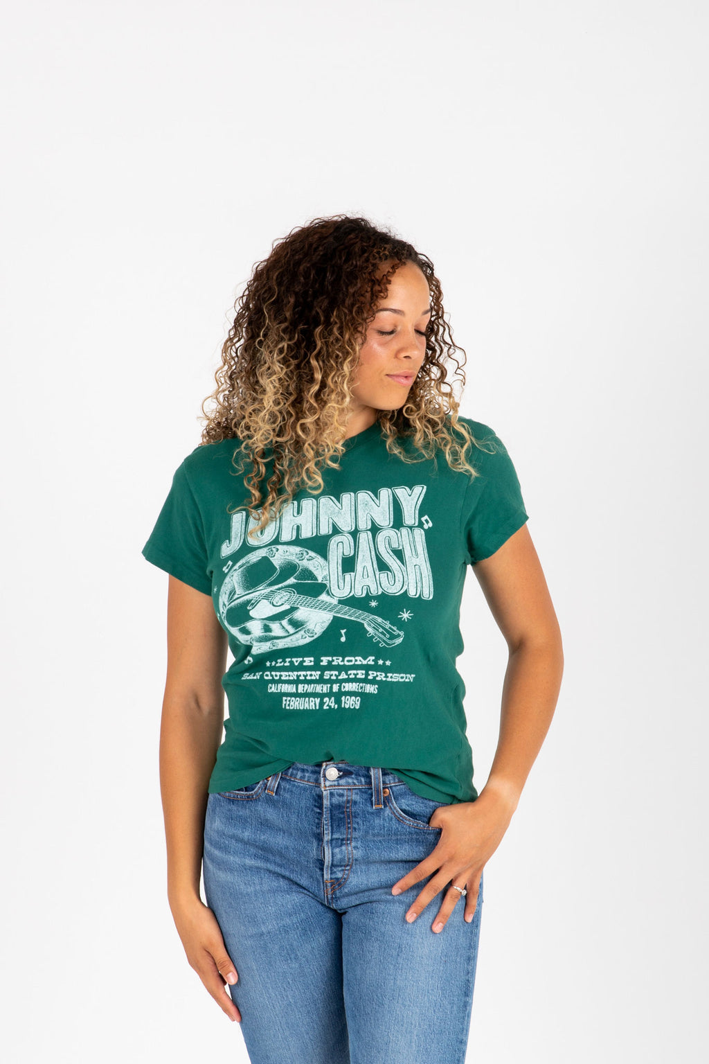 The Johnny Cash Band Tee in Hunter Green, studio shoot; front view