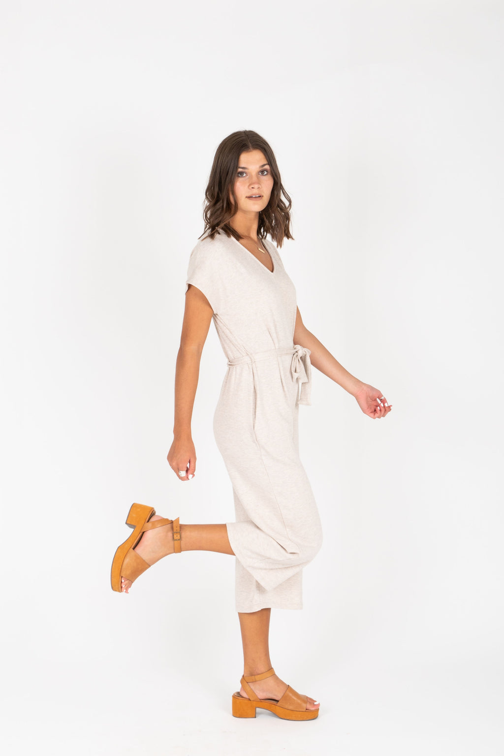 The Fiona Casual Jumpsuit in Oatmeal