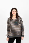 The Pippin Striped Casual Knit in Slate, studio shoot; front view