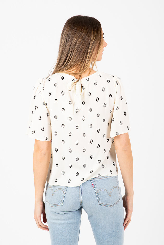 The Renton Patterned Casual Blouse in White