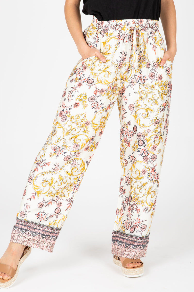 The Reagan Patterned Silk Pants in Cream, studio shoot; front view