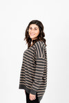 The Pippin Striped Casual Knit in Slate, studio shoot; side view