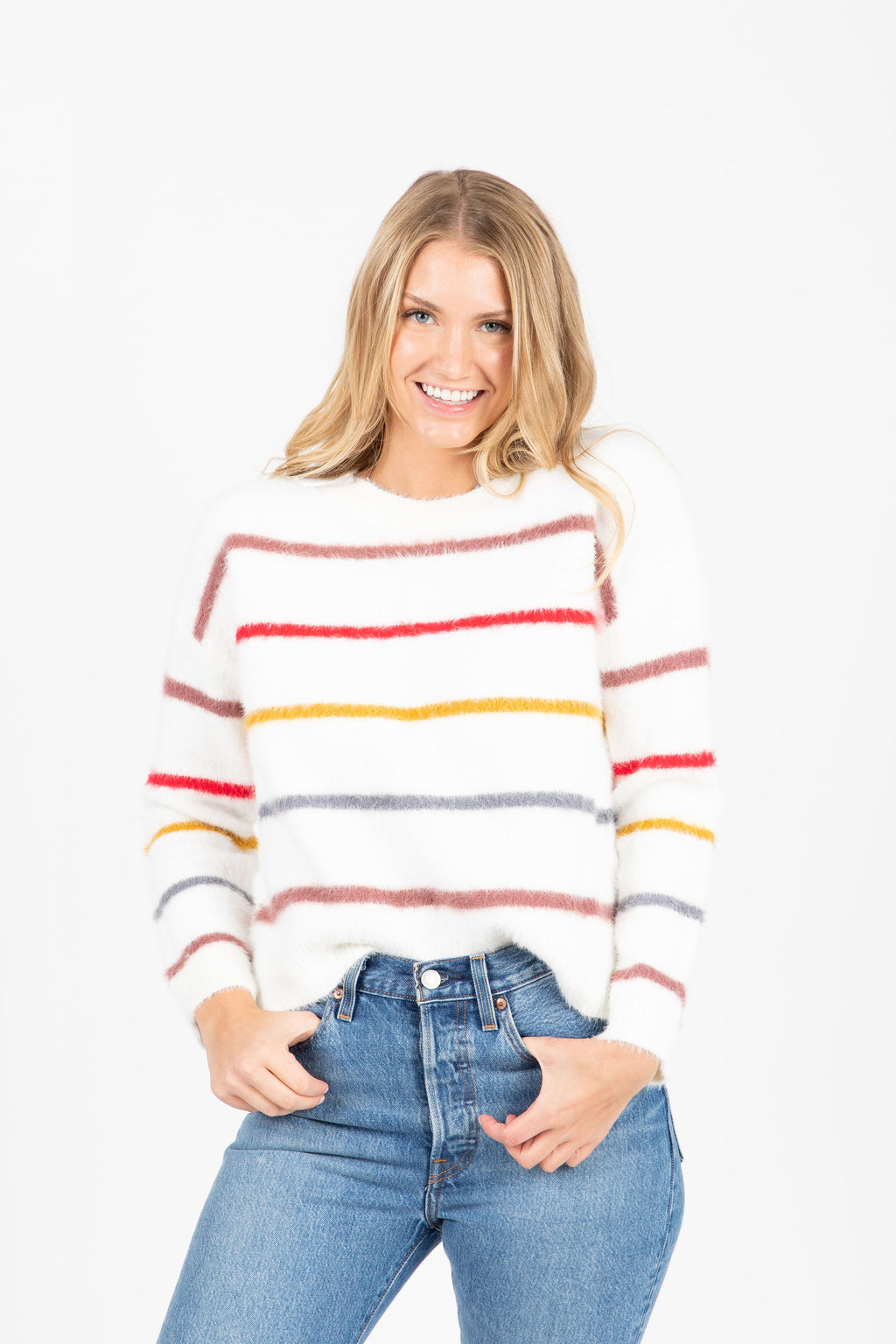 The Emerge Striped Cozy Sweater in Ivory