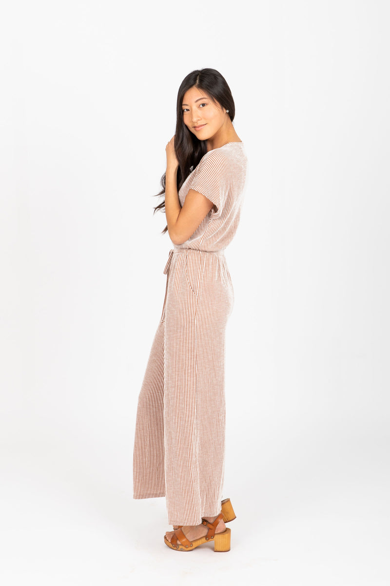 The Robbie Striped Button Jumpsuit in Taupe