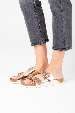 Birkenstock: Florida Softbed Birko-Flor in Meadow Flowers Khaki Narrow Fit