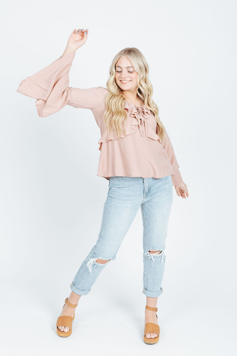 The Owen Bell Sleeve Blouse in Dusty Rose, studio shoot; front view