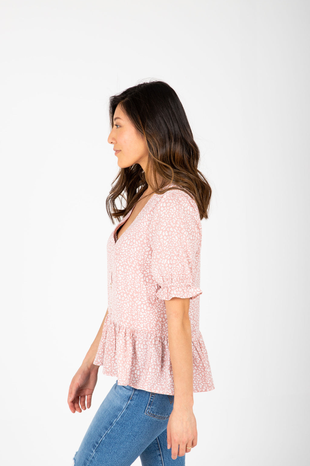 The Iris Patterned Peplum Blouse in Blush