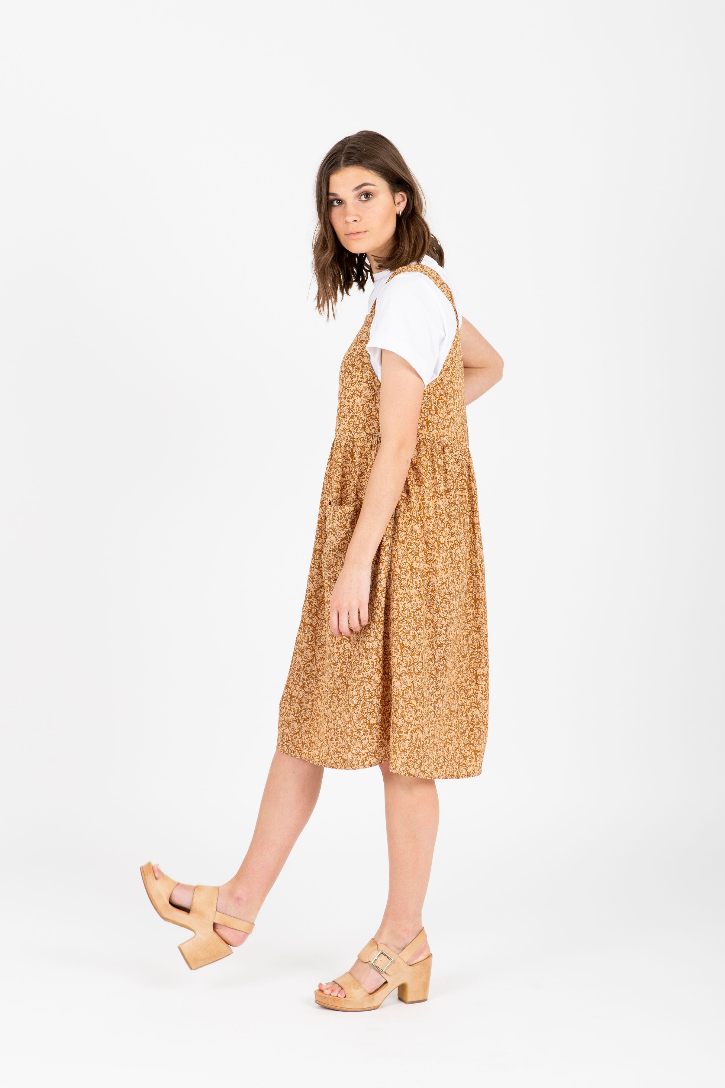 The Creme Pocket Jumper Dress in Camel