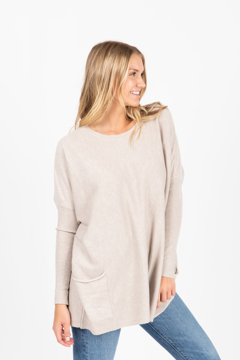 The Divina Casual Pocket Sweater in Warm Grey