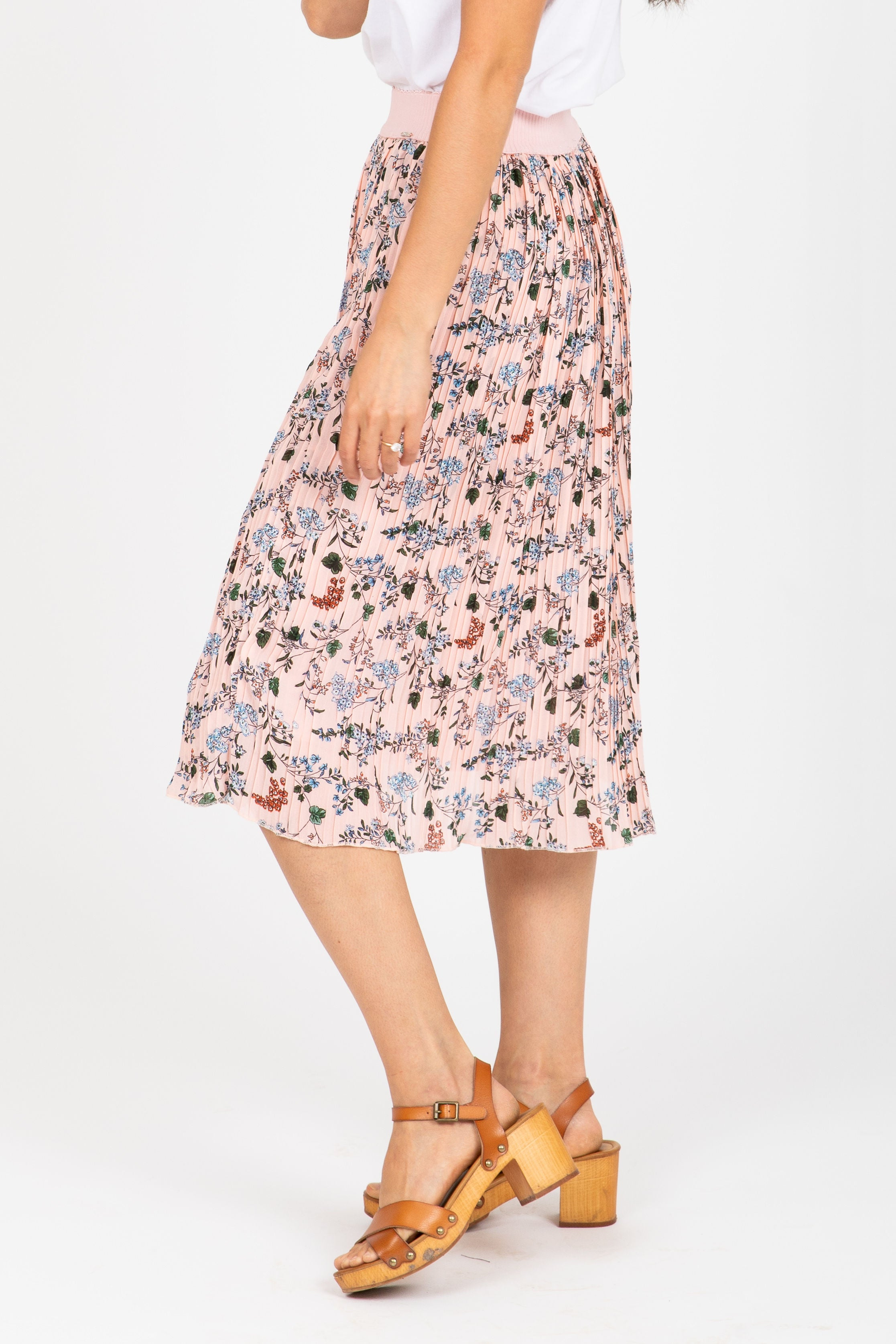 The Impact Pleated Floral Skirt in Blush