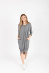 The Marina Striped Casual Dress in Grey