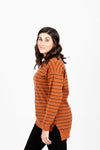 The Viggo Striped Knit in Brick, studio shoot; side view