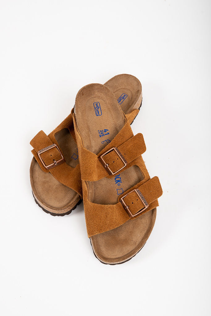 912d42d8b96a Birkenstock  Arizona Soft Footbed in Mink Suede Leather (Narrow Fit ...