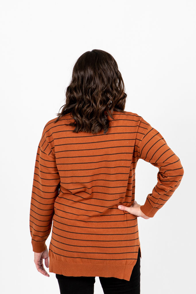 The Viggo Striped Knit in Brick, studio shoot; back view