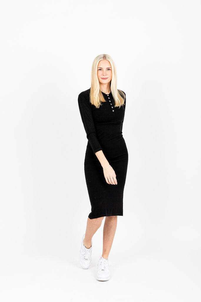 The Horace Collared Button Dress in Black, studio shoot; front view