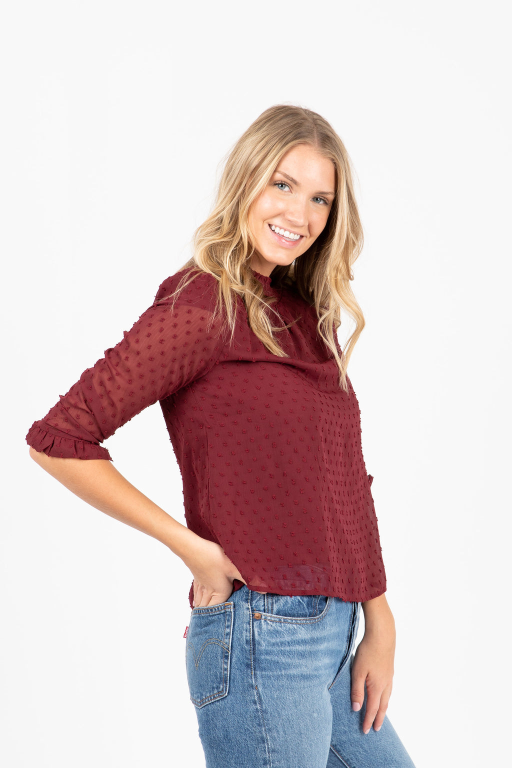The Navigator Swiss Mock Neck Blouse in Burgundy