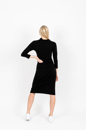 The Horace Collared Button Dress in Black, studio shoot; back view