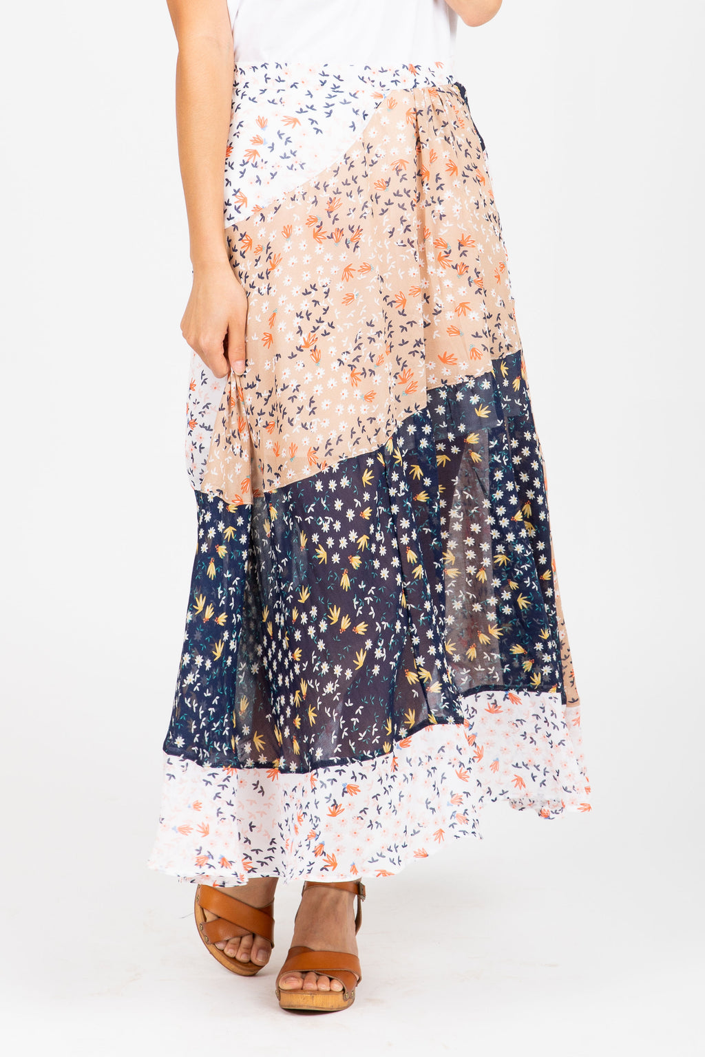 The Wayback Mixed Floral Midi Skirt in Navy