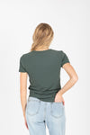 The Rae Crew Tee in Green, studio shoot; back view