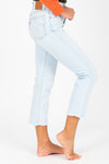 Levi's: 501 Original Stretch Cropped Women's Jeans in Shout Out Light Wash, studio shoot; side view