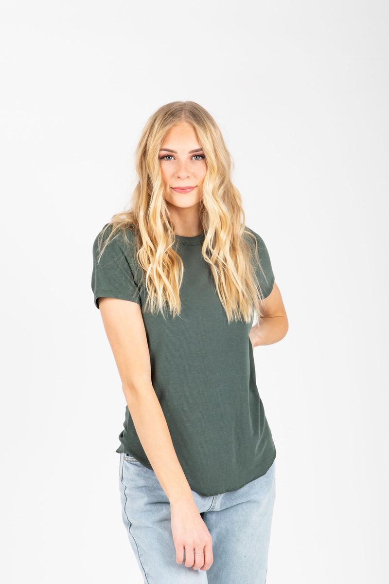 The Rae Crew Tee in Green, studio shoot; front view