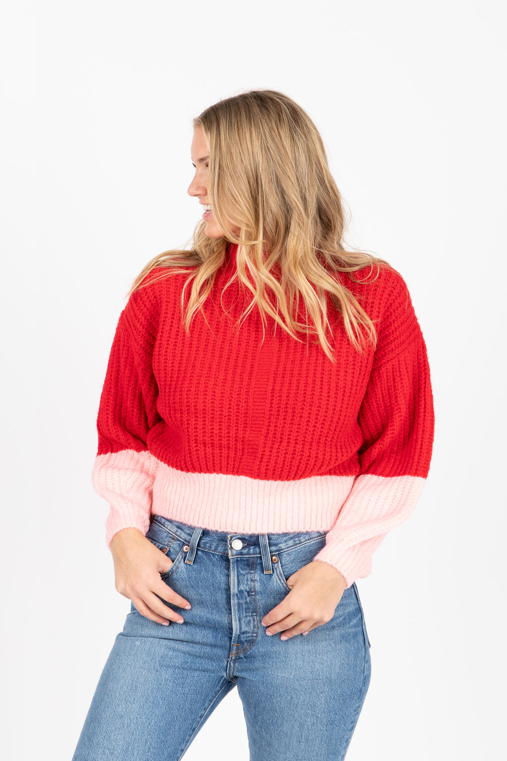 The Lewis Colorbolock Sweater in Red- studio shoot; front view