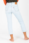 Levi's: 501 Original Stretch Cropped Women's Jeans in Shout Out Light Wash, studio shoot; back view