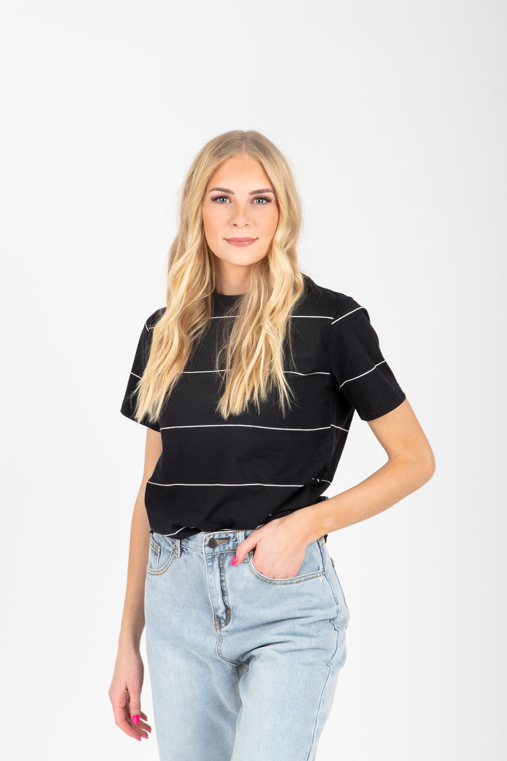 The Silvia Striped Tee in Black, studio shoot; front view