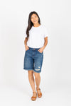 The New Denim High Rise Bermuda Short in Medium Dark