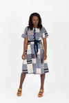 The Icon Patch Tie Dress in Blue Multi